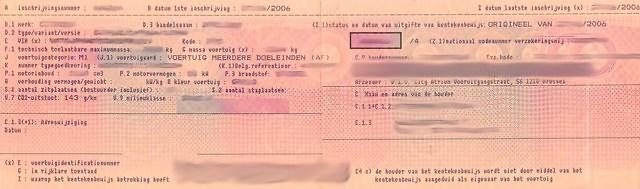 Belgisch kentekenbewijs voor 2012