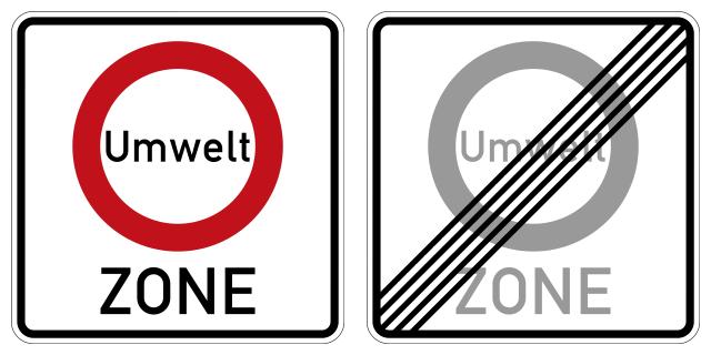 afbeelding: borden van de Umweltzone